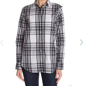 JCrew plaid loose boyfriend fit button down shirt